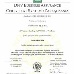 DNV Certyfikat Systemu Zarzadzania