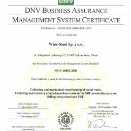 DNV Management System Certificate